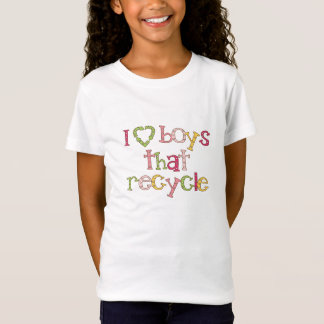 Eu amo os meninos que recicl camiseta