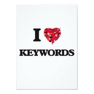 Eu amo palavras-chaves convite 12.7 x 17.78cm