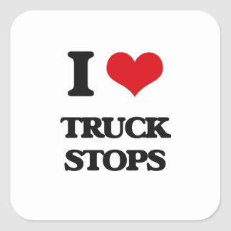 Eu amo paradas de caminhão adesivo quadrado