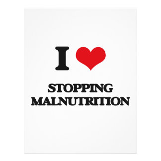 Eu amo parar a má nutrição panfleto