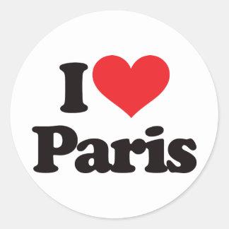Eu amo Paris Adesivo Em Formato Redondo