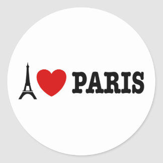 Eu amo Paris Adesivos Redondos
