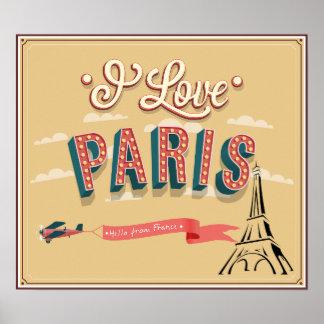 Eu amo Paris, olá! do poster retro do estilo de