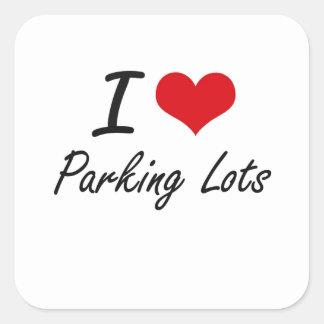 Eu amo parques de estacionamento adesivo quadrado