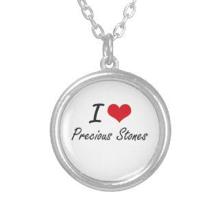 Eu amo pedras preciosas colar com pendente redondo