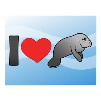 Eu amo peixes-boi cartao postal