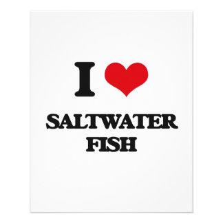 Eu amo peixes de água salgada panfletos