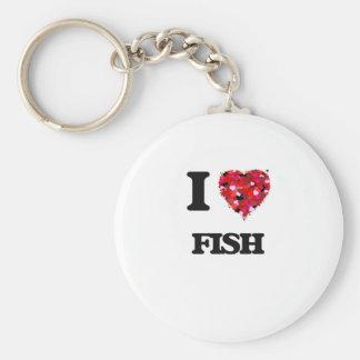 Eu amo peixes chaveiro