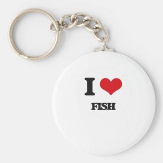 eu AMO peixes Chaveiros