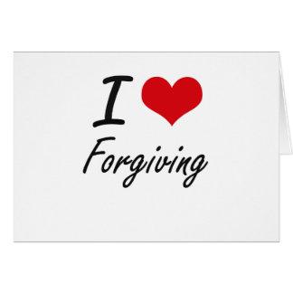 Eu amo perdoar cartão de nota