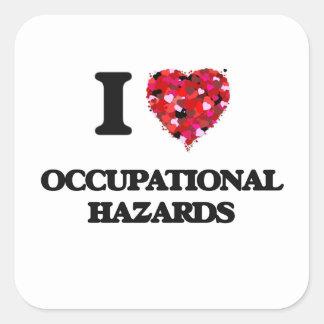 Eu amo perigos ocupacionais adesivo quadrado