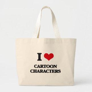 Eu amo personagens de desenho animados sacola tote jumbo