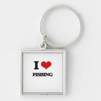 eu AMO pescar Chaveiro Quadrado Na Cor Prata