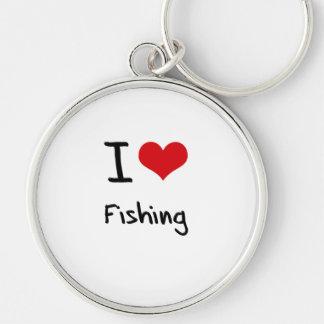 Eu amo pescar chaveiro