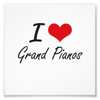 Eu amo pianos de cauda impressão de foto