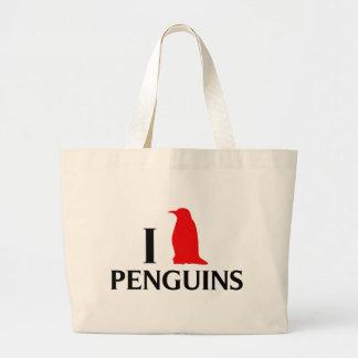 Eu amo pinguins bolsas de lona