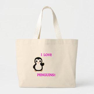 EU AMO PINGUINS! SACOLA TOTE JUMBO