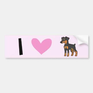 Eu amo Pinschers diminutos/terrier de Manchester Adesivos