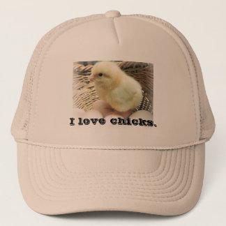 """""""Eu amo pintinhos"""" com a foto da galinha do bebê Boné"""