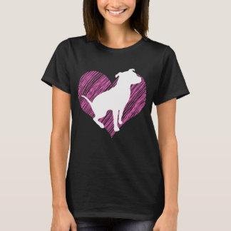 Eu amo Pitbull no T cor-de-rosa do coração Camiseta