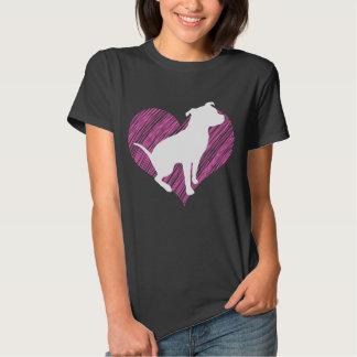 Eu amo Pitbull no T cor-de-rosa do coração Tshirts