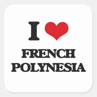 Eu amo Polinésia francesa Adesivo Quadrado