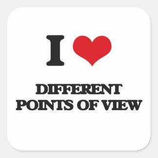 Eu amo pontos de vista diferentes adesivo quadrado