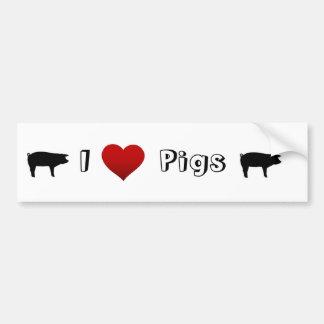 eu amo porcos adesivo para carro