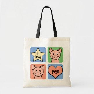 Eu amo porcos bolsa para compras