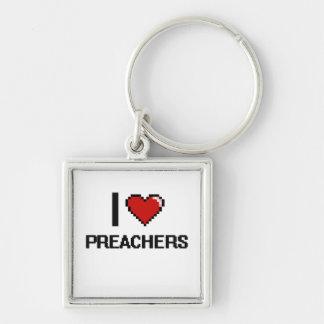 Eu amo pregadores chaveiro quadrado na cor prata