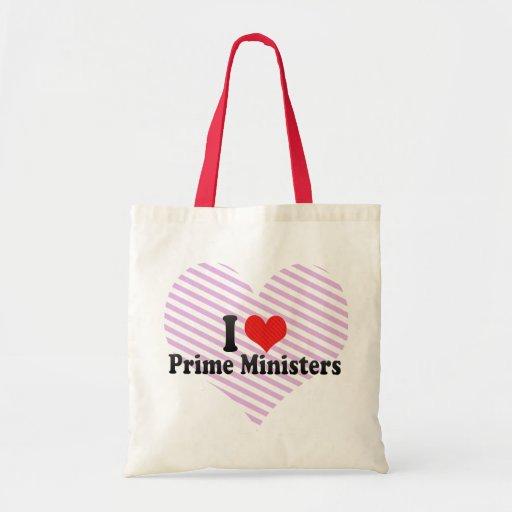 Eu amo primeiros ministros bolsa de lona