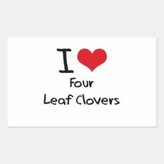 Eu amo quatro trevos da folha adesivo retangular