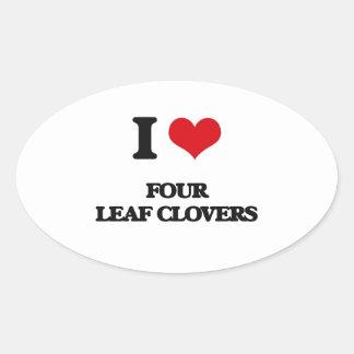 eu AMO quatro trevos da folha Adesivo Oval