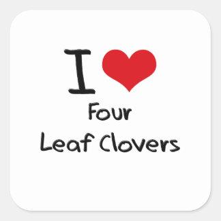 Eu amo quatro trevos da folha adesivo quadrado