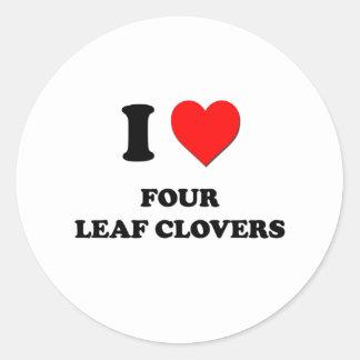 Eu amo quatro trevos da folha adesivo
