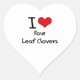Eu amo quatro trevos da folha adesivo coração