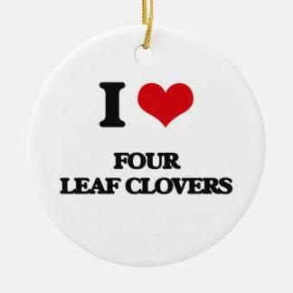 eu AMO quatro trevos da folha Ornamento De Cerâmica Redondo