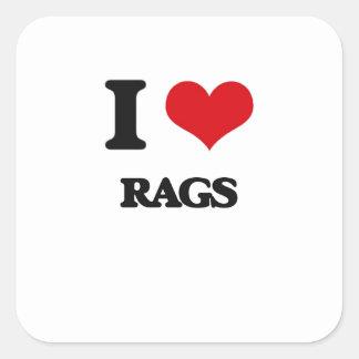 Eu amo Rags Adesivo Em Forma Quadrada
