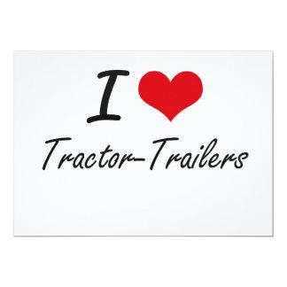 Eu amo reboques de tractor convite 12.7 x 17.78cm