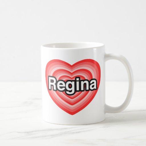 Eu amo Regina. Eu te amo Regina. Coração Canecas