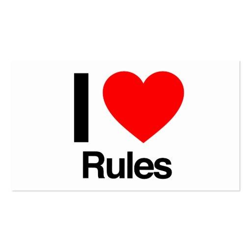 eu amo regras cartao de visita