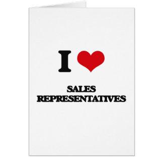 Eu amo representantes de vendas cartão comemorativo