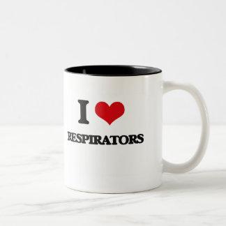 Eu amo respiradores caneca dois tons