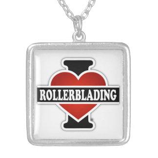 Eu amo Rollerblading Colar Com Pendente Quadrado