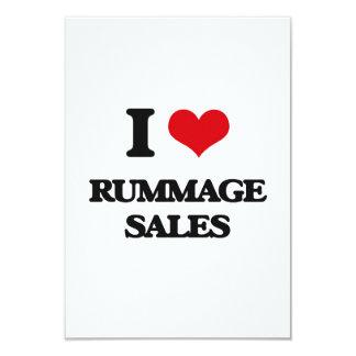 Eu amo Rummage vendas Convite 8.89 X 12.7cm