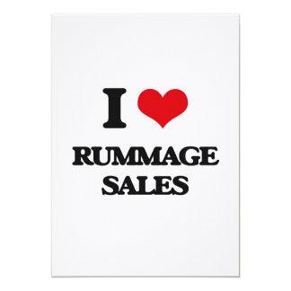 Eu amo Rummage vendas Convite 12.7 X 17.78cm