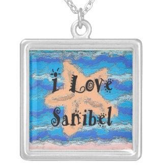 Eu amo Sanibel - colar chapeada prata do pendente