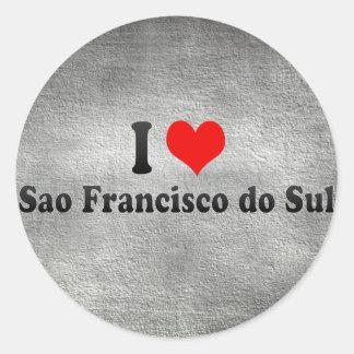 Eu amo Sao Francisco faço Sul, Brasil Adesivo Em Formato Redondo