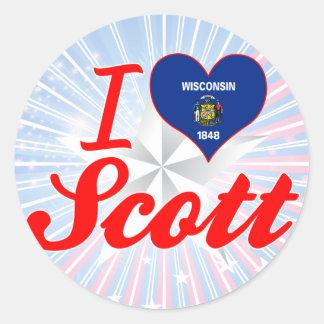 Eu amo Scott, Wisconsin Adesivo Redondo