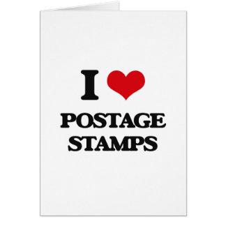 Eu amo selos postais cartao
